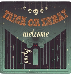 Welcome to Halloween Party Vintage Poster w vector image