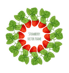 With watercolor strawberry frame hand drawn berry vector
