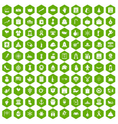 100 national holiday icons hexagon green vector