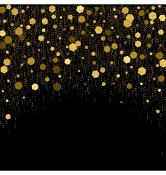 Black background with golden glitter particles vector