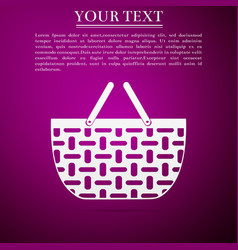 shopping basket flat icon on purple background vector image
