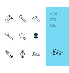 Tools icons set collection of tomahawk scoop vector