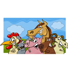 Animals group farm m vector