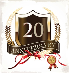 20 years anniversary golden label vector image