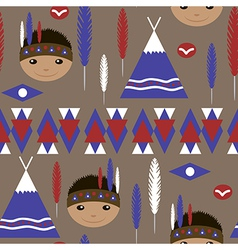 Seamless kids cute american indian pattern vector