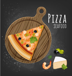 Pizza seafood slice vector