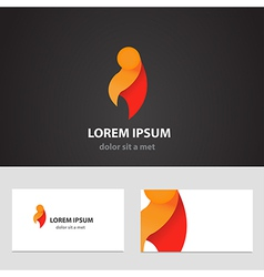 Abstract logo design template with business card vector