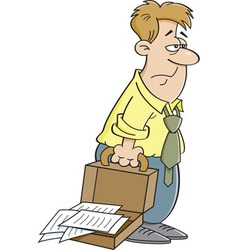 Cartoon tired man carrying a briefcase vector
