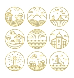 Concepts linear icons or badges and design vector