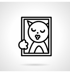 Cat portrait simple line icon vector