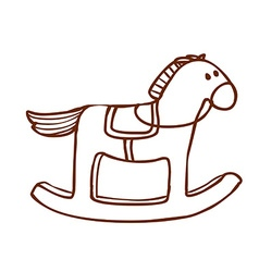 Hand drawn rocking horse vector