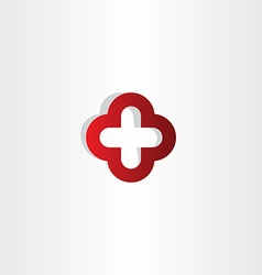 Red cross plus logo sign vector