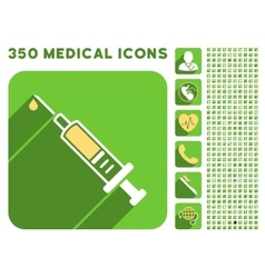 Vaccination icon and medical longshadow icon set vector