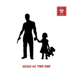black silhouette of man with gun and little girl vector image