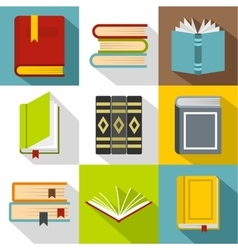 Books icons set flat style vector