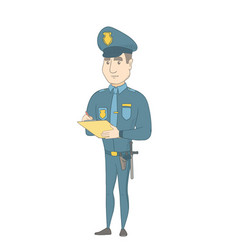 caucasian traffic policeman writing fine bill vector image
