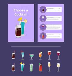 choose a cocktail menu bar layout alcohol beverage vector image