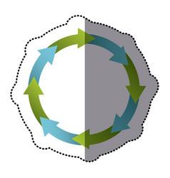 color sticker cycle icon vector image vector image