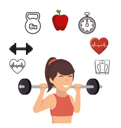 fitness lifestyle elements icons vector image vector image