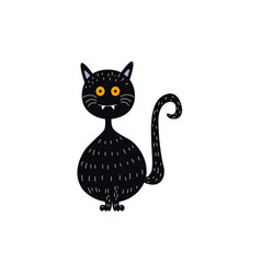 flat halloween witch black cat vector image vector image