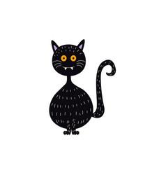 Flat halloween witch black cat vector