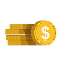 Golden coins with white dollar sign in vector