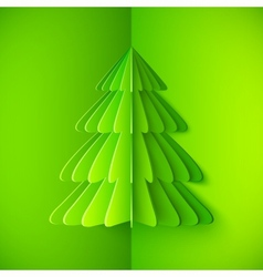 Green origami paper Christmas tree vector image vector image