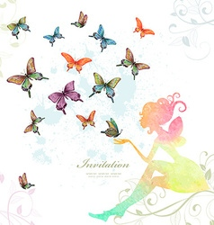 greeting card with fairy with butterflies vector image