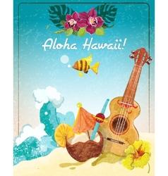 Hawaii guitar vacation poster vector