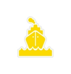 Icon sticker realistic design on paper sea ship vector