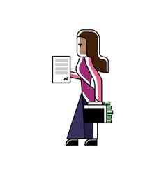 Indian woman with contract and suitcase vector