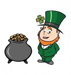 leprechaun pot of gold vector image vector image