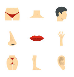 Male and female body parts icons set flat style vector