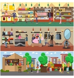 People shopping in a store and local market vector image vector image