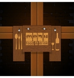 Restaurant menu background bricks and wooden vector