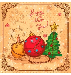 retro new year background vector image vector image