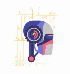 Robotic head with numerals vector