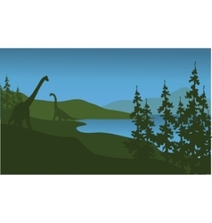 Silhouette of brachiosaurus in lake vector image