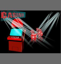 Slot machine in casino vector