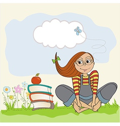 studious girl sitting barefoot in the grass vector image vector image
