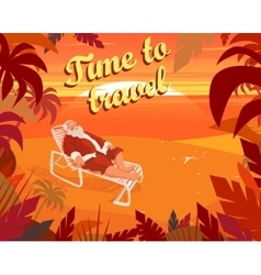 Sunset on a tropical beach summer santa claus vector image