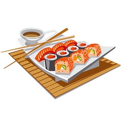Sushi with soy sauce vector