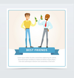 two best male friends drinking beer at meeting vector image vector image