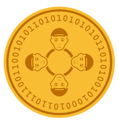 User collaboration network digital coin vector