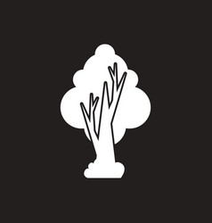 white icon on black background tree vector image