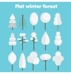 White trees flat icons set winter forest symbols vector
