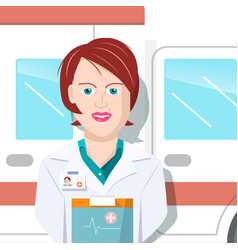 Woman doctor with ambulance car on background vector
