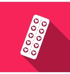 Flat design love pills pills in the shape of a vector