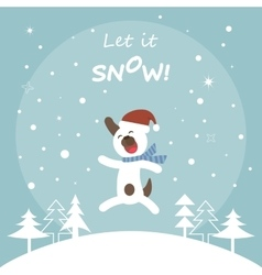 Cute dog jumping for joy christmas card vector