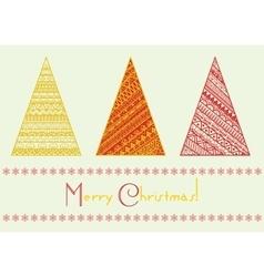 Christmas tree set with geometrical line vector